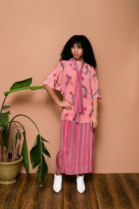 80s Pink Silk Hand Painted Separate Set // Abstra… - image 8