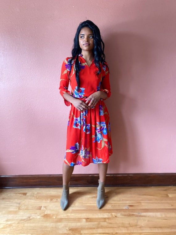 Red Floral Matching Two Piece Skirt Set - XS