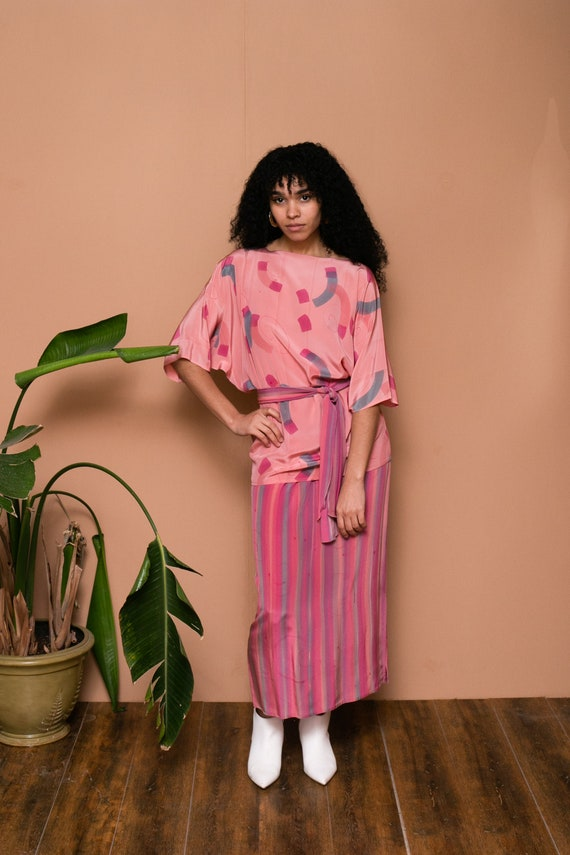 80s Pink Silk Hand Painted Separate Set // Abstra… - image 4