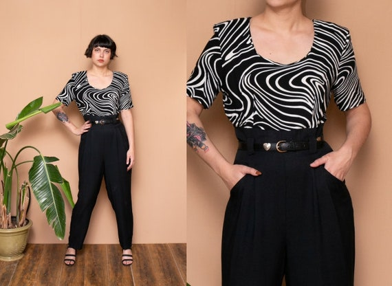 90s Black & White Swirl Novelty Print Jumpsuit Ult