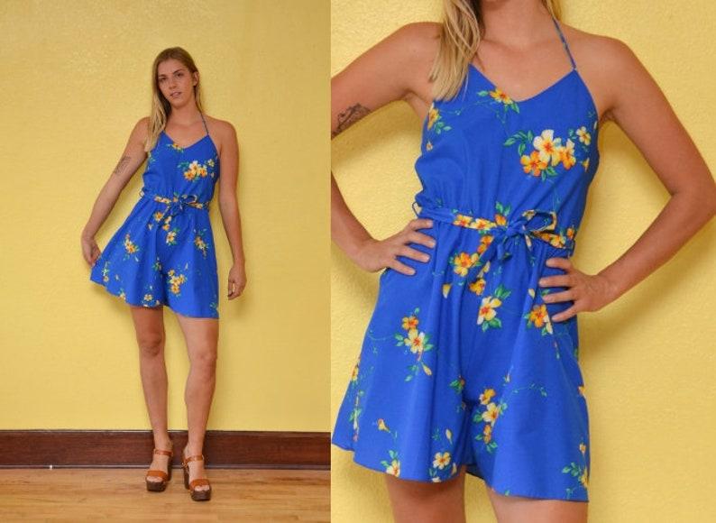 ac02dd2edfca 70s Hawaiian Romper Blue Yellow Floral Print Halter Top