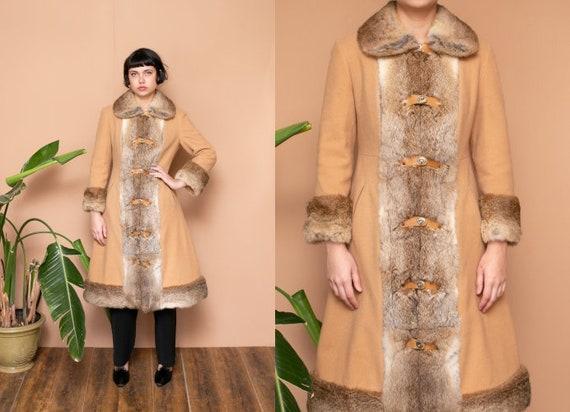 Fur Collar Coat 60s 70s ESKIMO Coat S Arctic Rabbi