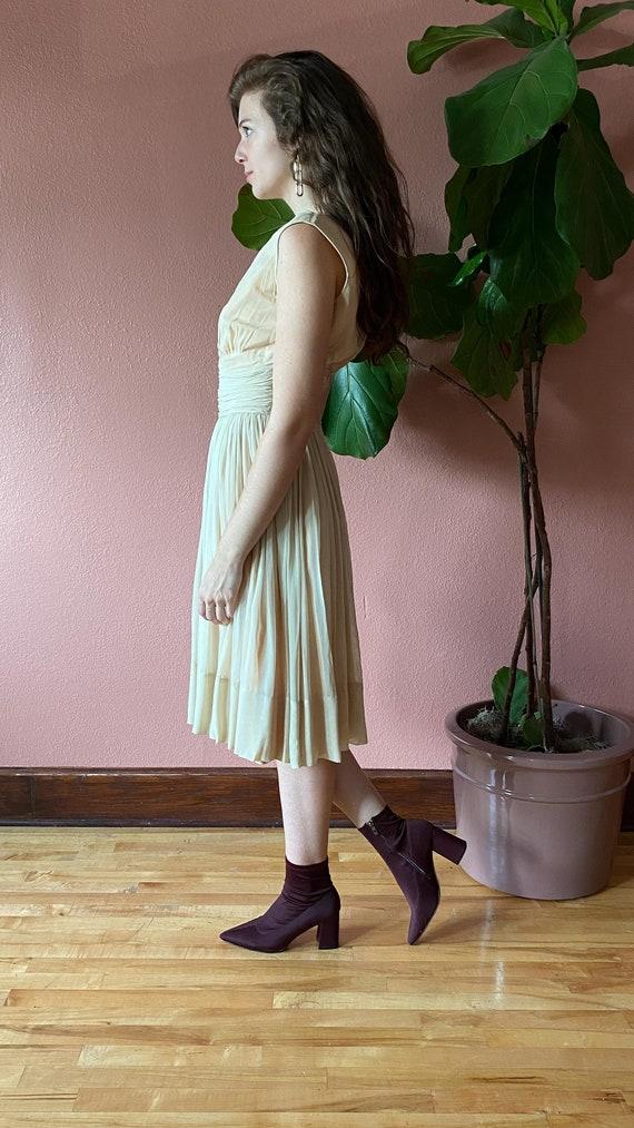 Vintage 1950's Cream Chiffon Dress // Party Dress… - image 7