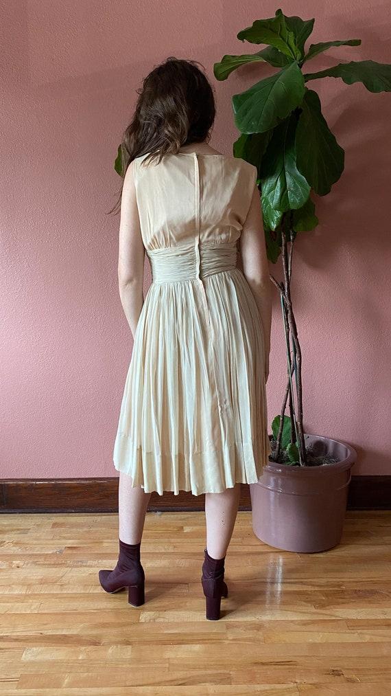 Vintage 1950's Cream Chiffon Dress // Party Dress… - image 9