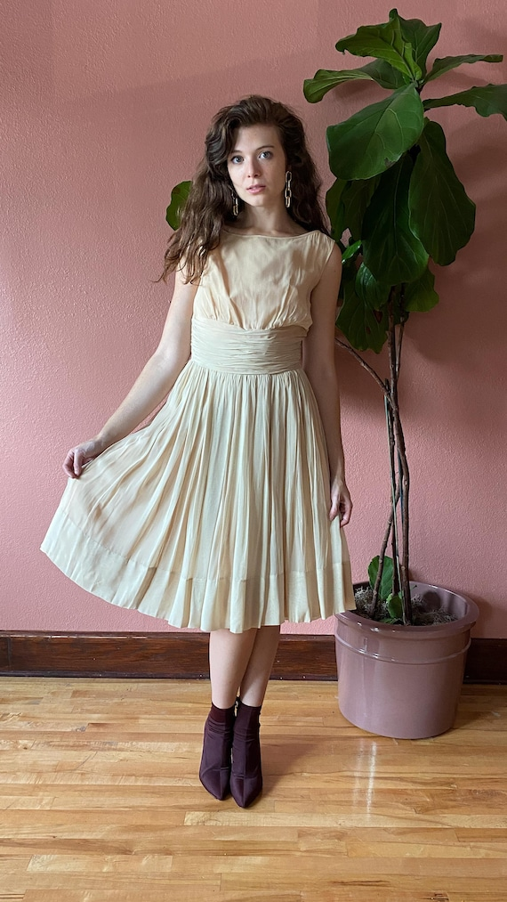 Vintage 1950's Cream Chiffon Dress // Party Dress… - image 3