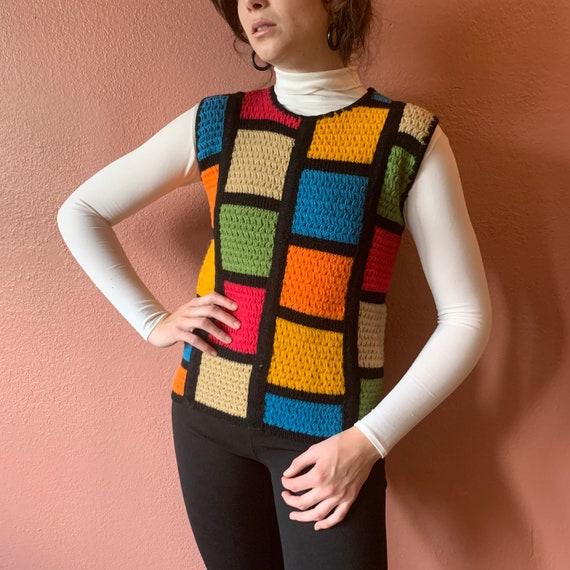 60s Mod Sweater Vest Crochet Colorblock Knit Colo… - image 1