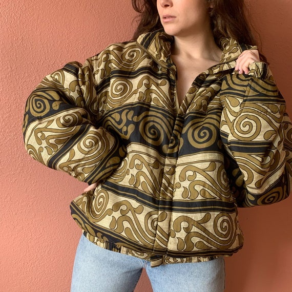 80s 90s Abstract Printed Silk Bomber Jacket UNISE… - image 5