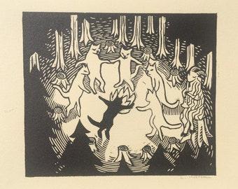 The Dance - Linocut