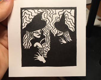 The witches- Linocut
