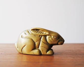 Brass Rabbit | Brass Bunny | Brass Animal Figurine | Mid Century Brass