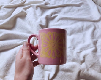 Vintage Pink Flower Coffee Mug | Grindley England | Ceramic Coffee Mugs | Pink and Yellow Butterfly Mug | Vintage Mug