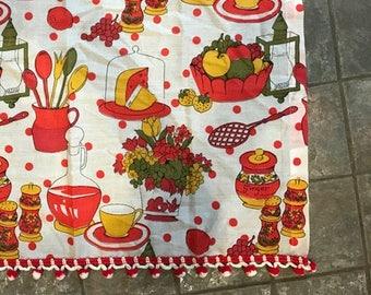 Vintage Kitchen Curtain  Fruit Food Kitchen Motif   1970s   NEW