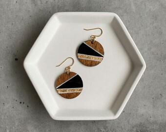 Wood Resin Earrings: Lightweight, hand painted, handmade, modern jewelry