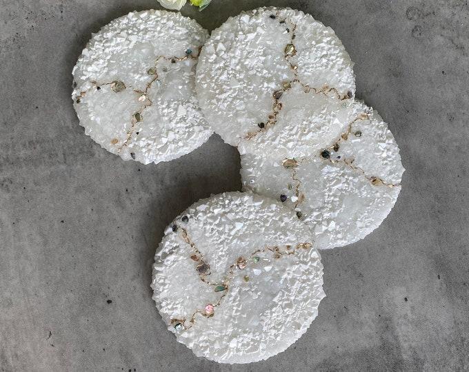 White kintsugi Coasters: Resin Coaster Set