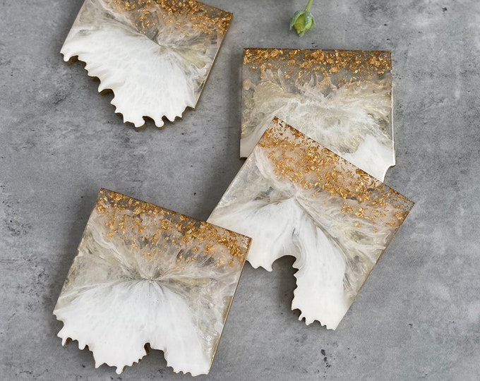 White and Gold Geode Coasters