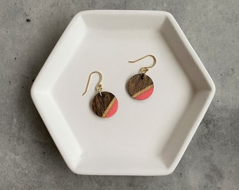 Wood Resin Earrings: Lightweight, hand painted, handmade, modern jewelry