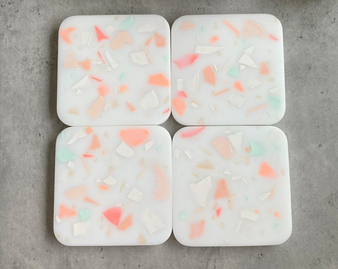 Matte Slumber Party Terrazzo Resin Coasters