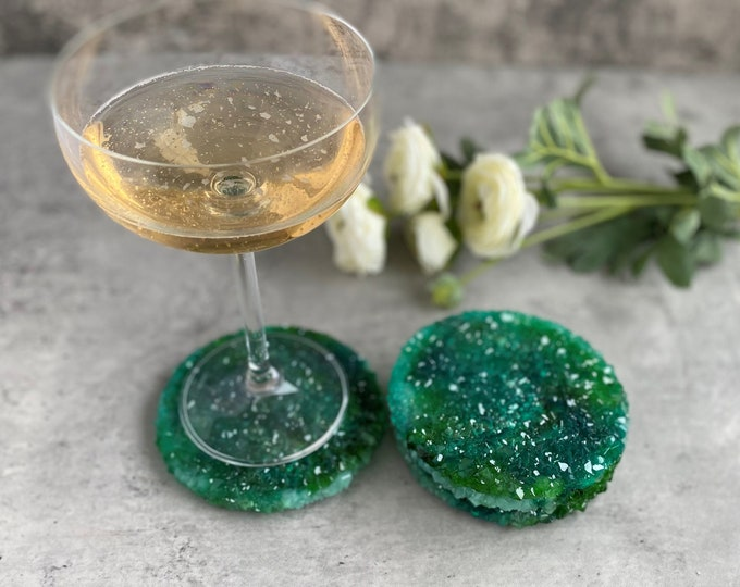 Green Crystal Coasters, Resin Coaster Set