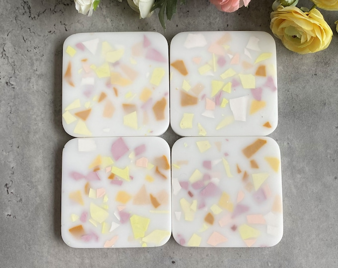 Matte Banana Split Terrazzo Resin Coasters