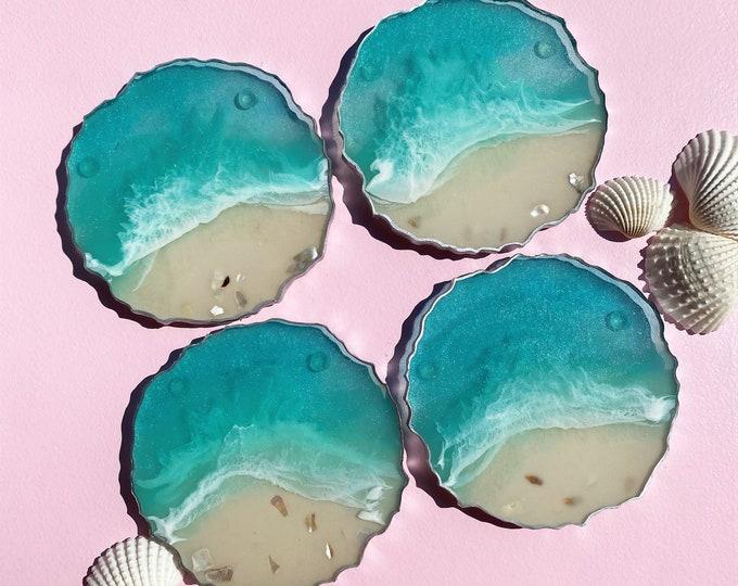 Ocean Coasters; Set of 4 Resin Coasters