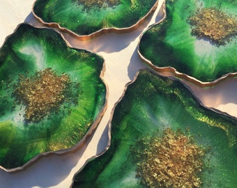 Emerald Green Geode Coasters