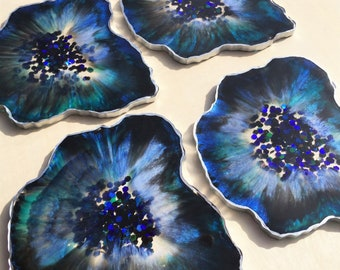 Black and Blue Geode Coasters