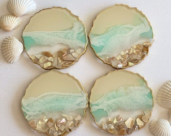 Ocean Coasters; Set of 4 Resin Coasters