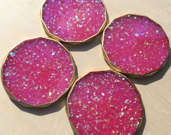 Hot Pink Opal Iridescent Rhombus Edged Coasters