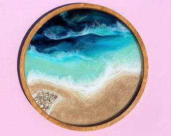 Ocean Painting; Resin Ocean Painting; 24 Inch Round Painting