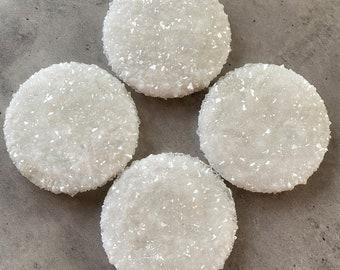 White Crystal Coasters: Resin Coaster Set