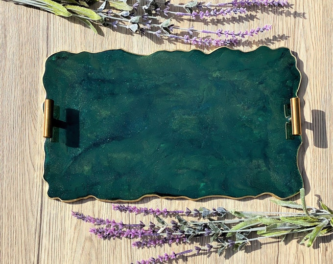 Green Agate Tray; 14 inch