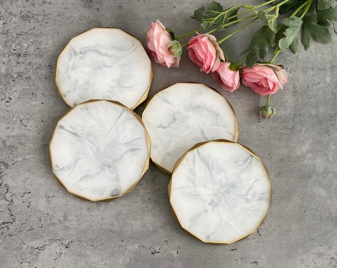 White Marble Coasters Rhombus Edged