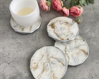 Silver Marble Coasters Rhombus Edged