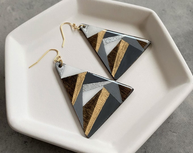 Wood Resin Earrings: Lightweight, hand painted, hand made, modern jewelry