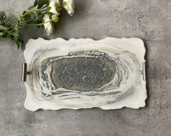 White and Silver Agate Tray