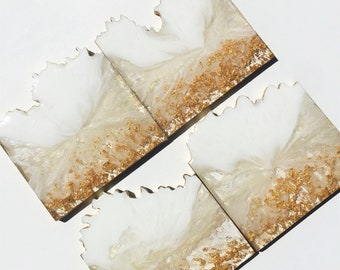 Coasters, White and Gold Geode Coasters
