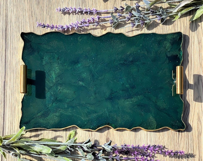 Green Agate Tray; 12 inch