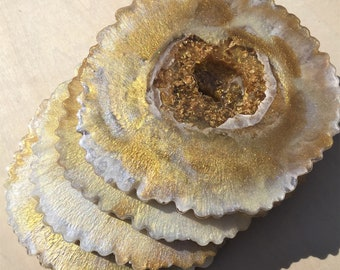 White and Gold Agate Slice Coasters