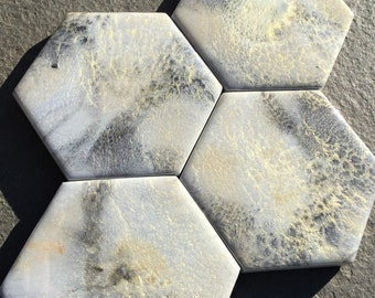 Gray Hexagon Coasters