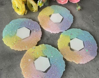 Rainbow Coaster Set, Agate Coasters, Resin Coasters