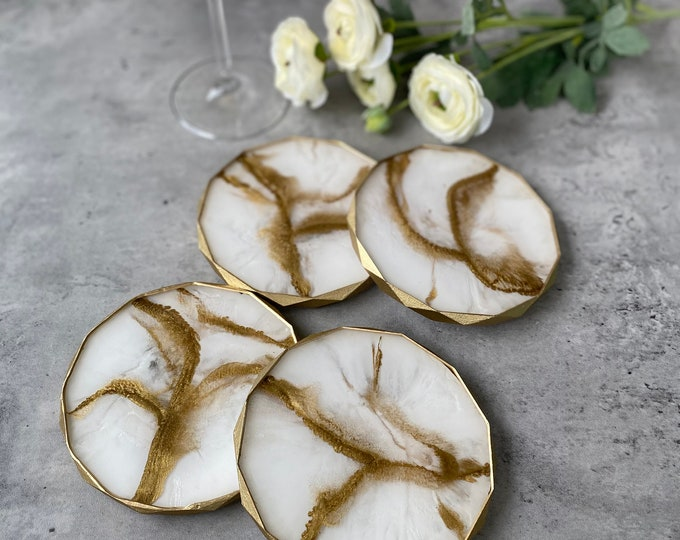 Gold Marble Coasters Rhombus Edged