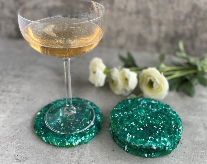 Emerald Crystal Coasters, Resin Coaster Set