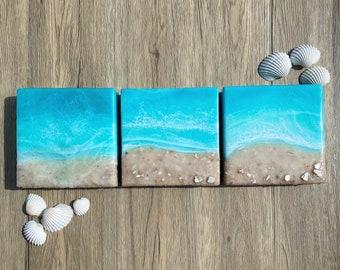Ocean Painting; Resin Ocean Painting; 6x6 Inch Painting