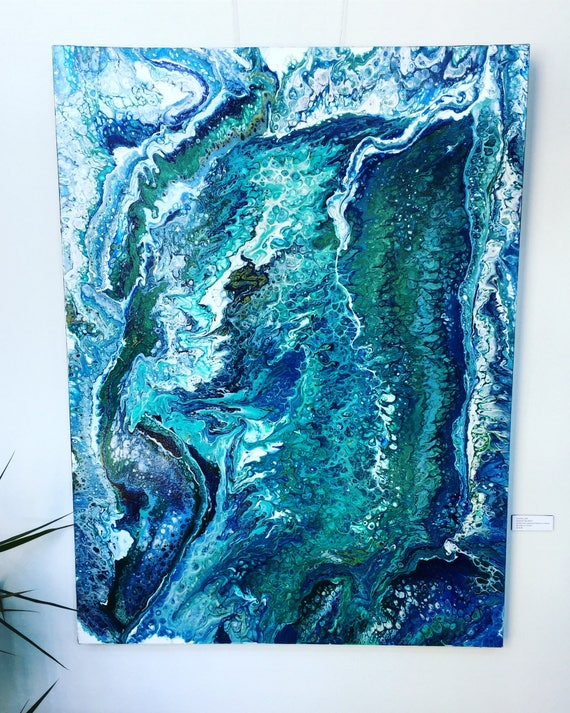 Fluid Acrylic Painting On Canvas Emerald Tide Etsy