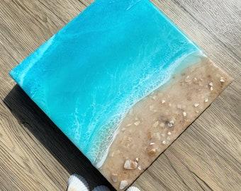 Ocean Painting; Resin Ocean Painting; 9x9 Inch Painting