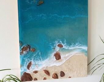 Realistic Ocean Painting; Resin Ocean Painting; 16x20 Inch Painting