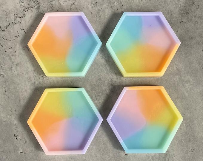 Rainbow Coaster Set, Hexagon Coasters, Resin Coasters