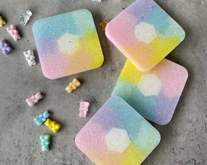 Rainbow Coaster Set, Square Coasters, Resin Coasters