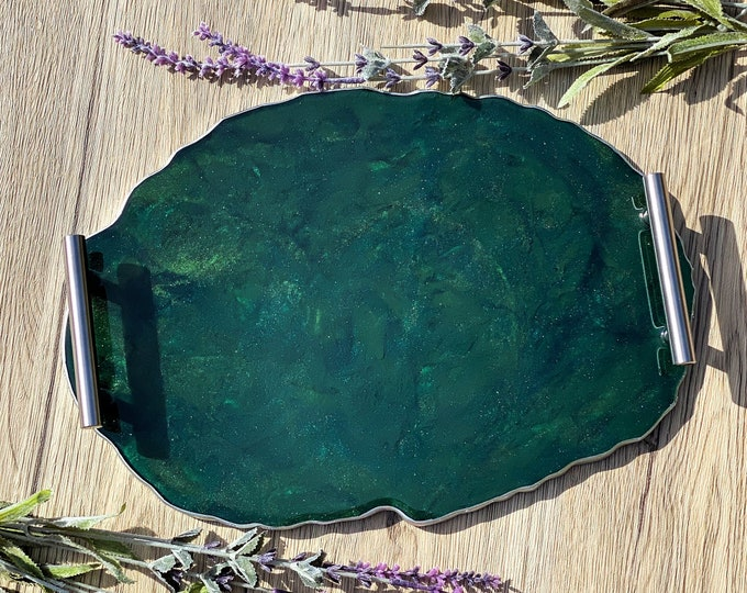 Green Agate Tray; 13 inch