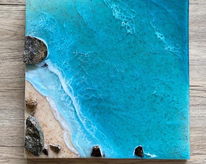 Realistic Ocean Painting; Resin Ocean Painting; 14x14 Inch Painting